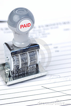 Paid stamp on invoice