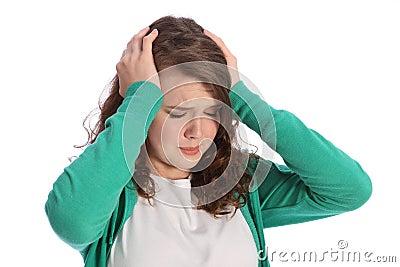 Pain of stressed teenager girl in despair