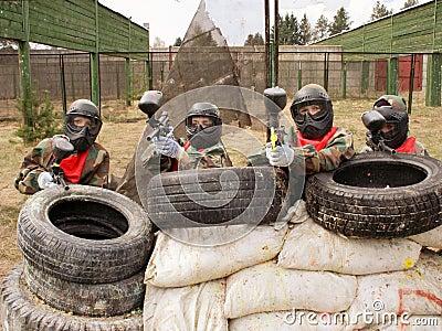 Painball Team at firing position