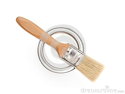 Painbrush on the cover, isolated on white