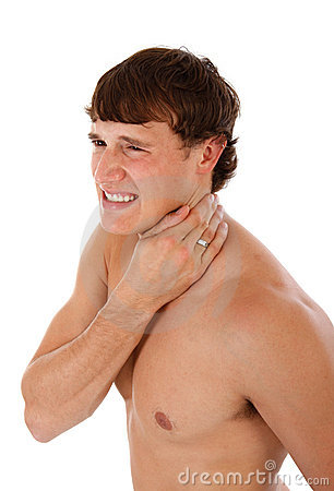 Painful Man Holding Neck