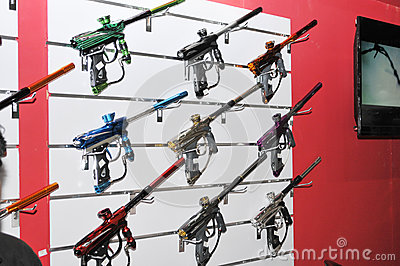 Paint ball guns display at Abu Dhabi International H Editorial Stock Photo