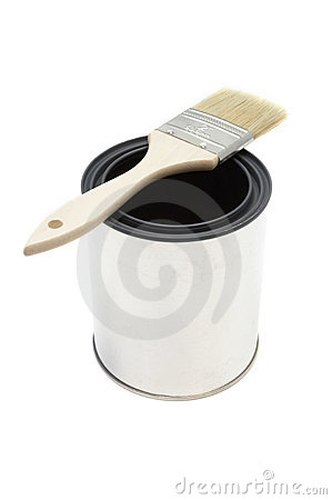 Paint brush and bucket