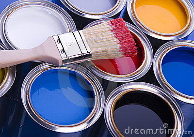 Paint brush and cans Stock Photo