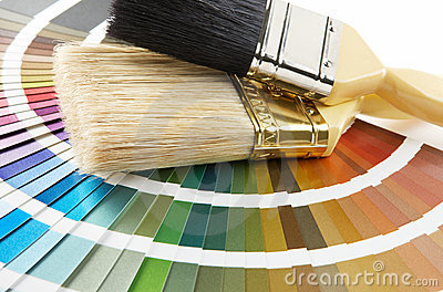 Paint brush on color chart