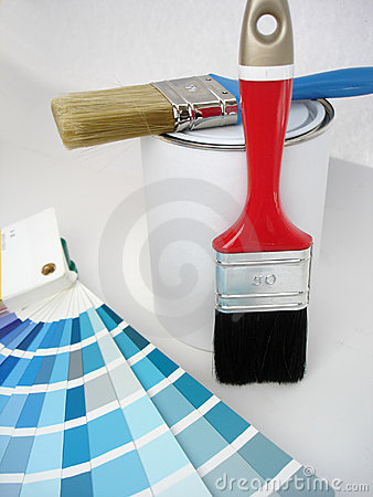 Paint, brush, color samples