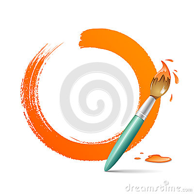 Paint brush. paint circle orange background