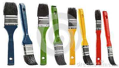 Paint brush set, multicolor paintbrush isolated over white backg