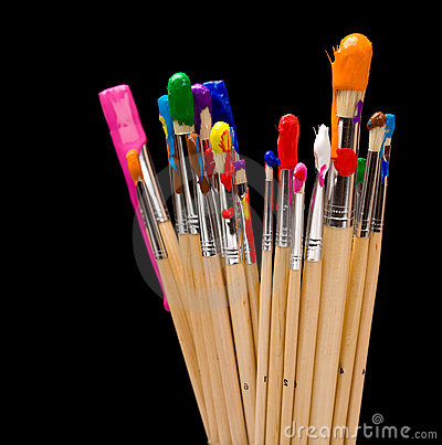 Paintbrushes With Paint On White Back Ground