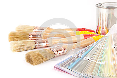 Paint brushes and can