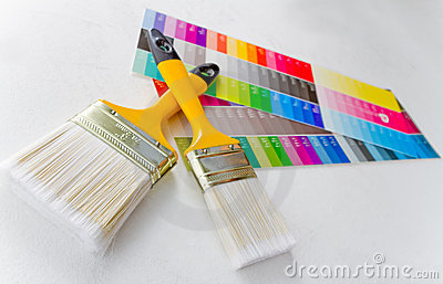 Paint brushes with color guide