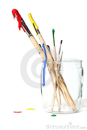 Free Paint Brushes Covered In Paint Stock Images - 10641034