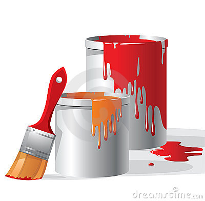 Paint buckets and brush