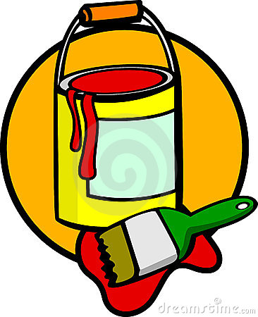 Paint can and brush vector illustration