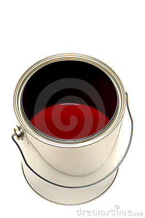 Paint Can with Red Color Mix Isolated on White