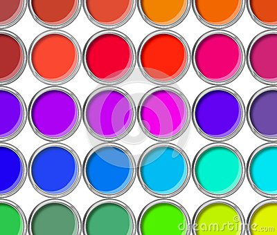 Paint cans color palette, cans opened top view