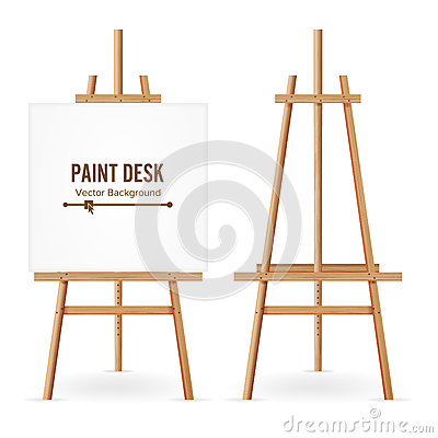 Free Paint Desk Vector. Wooden Easel Template With White Paper. Isolated On White Background. Realistic Painter Desk Set. Blank Space F Royalty Free Stock Photography - 88057367