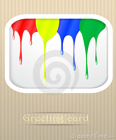 Paint drips postcard illustration