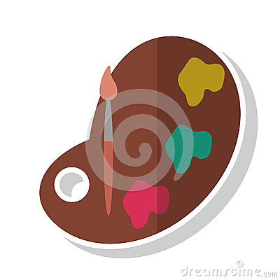 Paint palette and brush design Vector Illustration