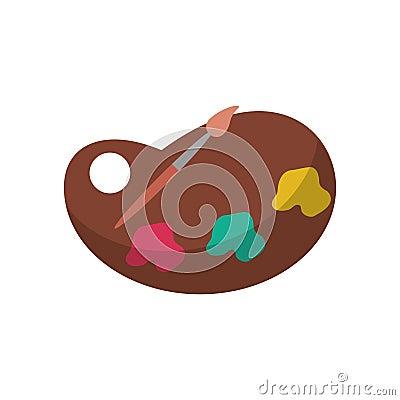 Paint palette and brush design Vector Illustration