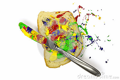 Paint playfully spread on the bread