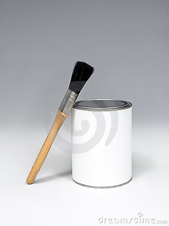 paint pot and paintbrushes