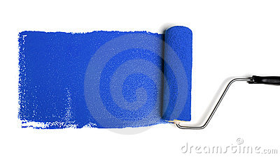 Paint Roller With Blue Paint