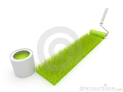 Paint roller draw a grass. Isolated