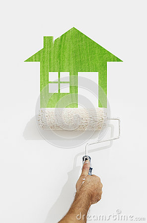 Free Paint Roller Hand With Green House Symbol Painting On Wall Isola Stock Image - 95896241