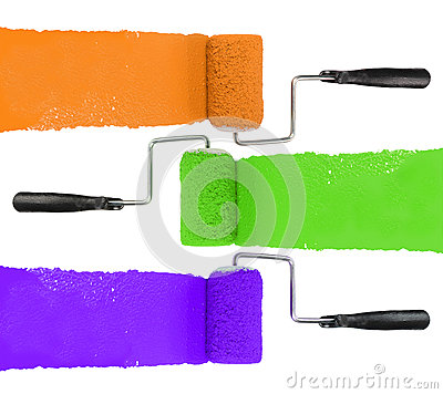 Paint Roller With Orange Green and Purple