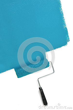 Free Paint Roller Painting Wall With Blue Stock Photo - 93520130