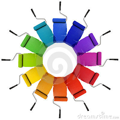 Free Paint Rollers With Color Wheel Hues Royalty Free Stock Photography - 9837297