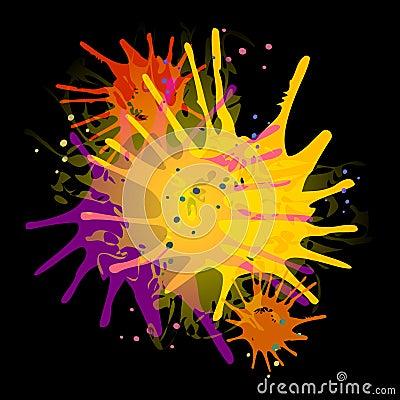 Paint Splatters on Black