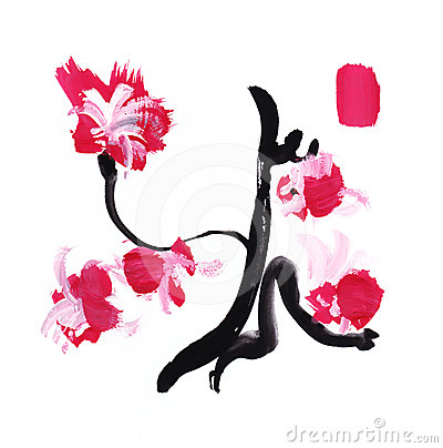 Handdrawn brush paint stroke japan calligraphy style flowers design ...
