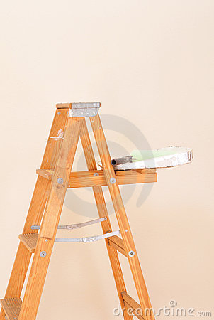 Paint Tray and Roller on Ladder