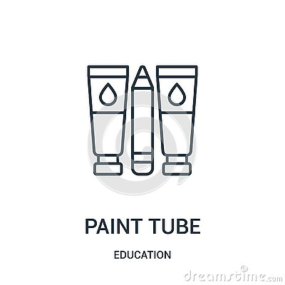 paint tube icon vector from education collection. Thin line paint tube outline icon vector illustration Vector Illustration