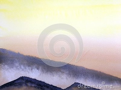 Watercolor painting landscape sunset or sunrise on the mountain fog. Stock Photo