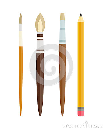 Paint and writing tools collection flat style colored stationery equipment drawing and education artist cartoon Vector Illustration