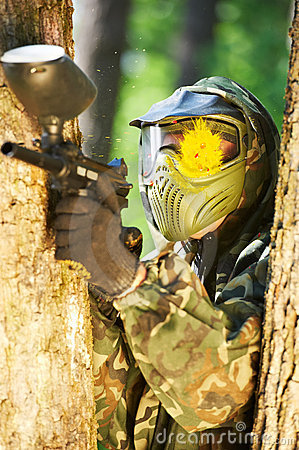 Free Paintball Player Head Shot Stock Photography - 19626012