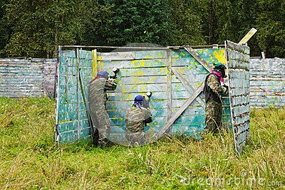 Paintball players took the defense in the shelter