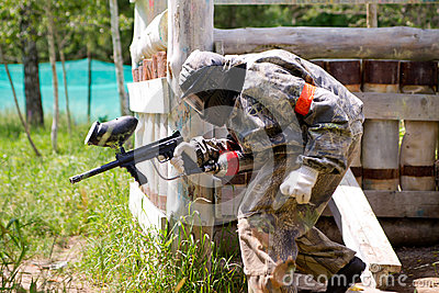 Paintball sport player