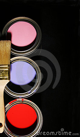 Free Paintbrush And Cans Of Primary Colored Paints On Black Background Royalty Free Stock Photos - 527118