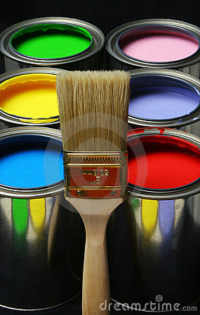Free Paintbrush And Paint, Cans Of Primary Colored Paints On Black Ba Royalty Free Stock Photography - 527117