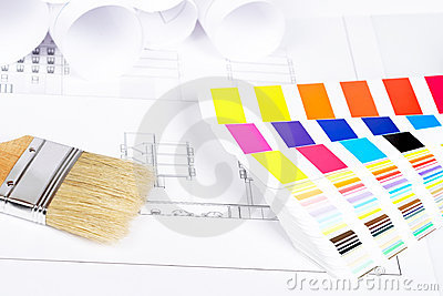 Paintbrush And Color Guide Royalty Free Stock Images - Image: 14477489