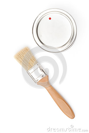 Paintbrush and cover, isolated on white