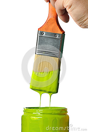 Paintbrush With Green Paint Dripping