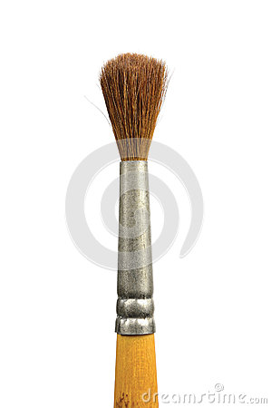 Paintbrush isolated old used paint squirrel brush