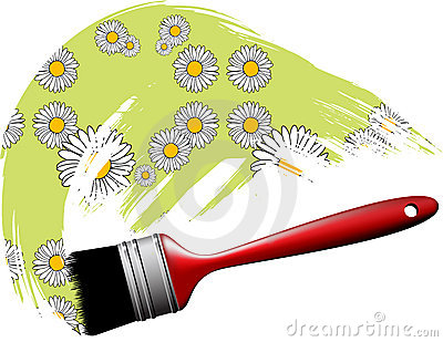 Paintbrush making flower pattern