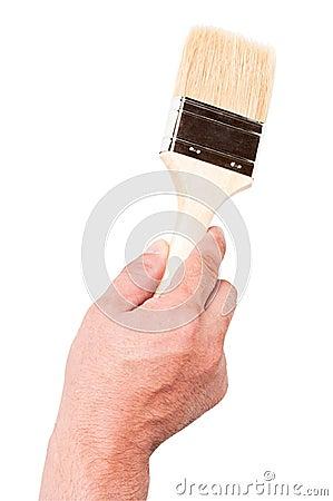 Paintbrush with stiff bristles