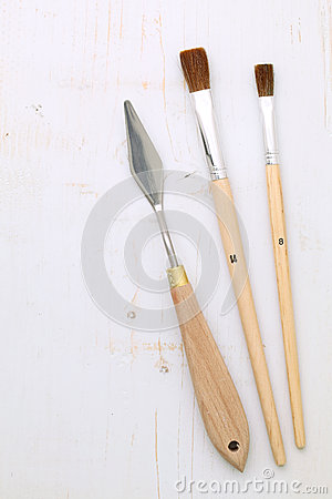 Paintbrushes and palette knife